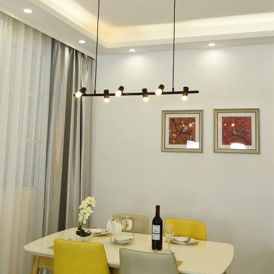Kitchen Linear Island Fixture Metal 6/8 Lights Vintage Style Black Ceiling Lamp