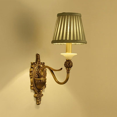 Living Room Tapered Shade Wall Light Metal Fabric 1/2 Light Antique Style Sconce Light