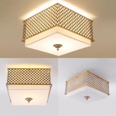 Metal Square Ceiling Mount Light 4/5 Lights Rustic Style Flush Ceiling Light for Living Room