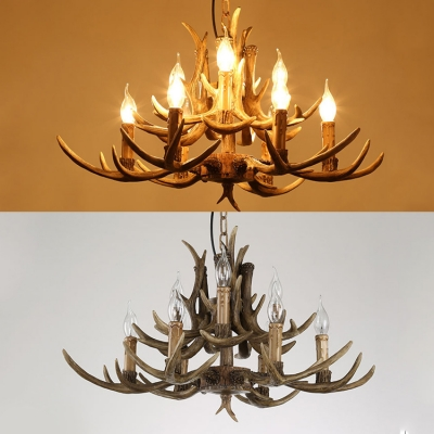 Resin Candle Hanging Light with Antlers Decoration Living Room 9 Lights Vintage Style Chandelier