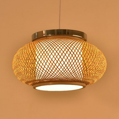 Rustic Beige Ceiling Fixture with Lantern Shape Single Light Bamboo Pendant Lamp for Living Room