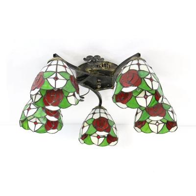 Rustic Style Flower Ceiling Fixture Stained Glass 5 Lights Semi Ceiling Mounted Light for Balcony