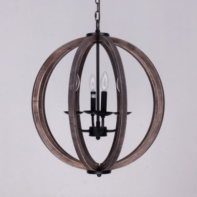 Rustic Style Globe Shade Hanging Light Metal and Wood 4 Lights Black Chandelier for Dining Room Bedroom