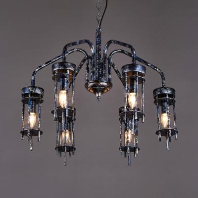 Silver Pillar Chandelier Light 6 Lights Vintage Metal Pendant Lamp for Dining Room