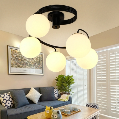 Simple Style Globe Semi Flush Ceiling Light 3/5 Lights Frosted Glass Ceiling Lamp in Black