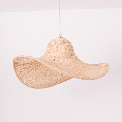 Single Light Hat Shape Ceiling Light Antique Style Rattan Pendant Lighting in Beige for Kitchen