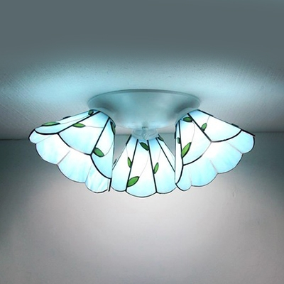 Stained Glass Dome Ceiling Lamp Living Room 3 Lights Magnolia/Leaf/Beads Tiffany Style Flush Mount Light