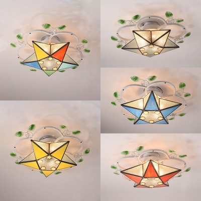 Stained Glass Star Semi Flush Ceiling Light Tiffany Style Ceiling Lamp for Living Room