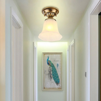 White Bell Ceiling Lamp Frosted Glass 1 Light Antique Style Flush Ceiling Light for Shop