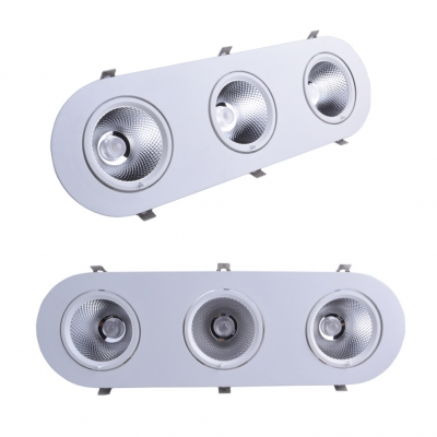 (4 Pack)10W Oval Light Fixture Recessed Dining Room Bedroom 2/3 Lights Wireless Recessed Down Light in White/Warm