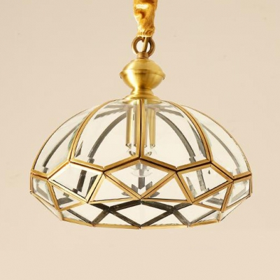 1 Light Ceiling Light Fixture Traditional Metal Clear Glass Pendant Light in Gold for Restaurant Living Roo