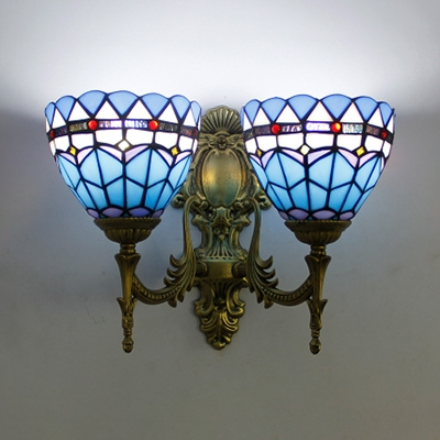 2 Lights Dome Wall Sconce Tiffany Style Rustic Stained Glass Sconce Light for Bedroom