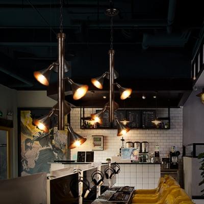 6 Lights Flared Chandelier Vintage Metal Hanging Light Fixture in Black for Dining Room