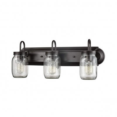 American Vintage Jar Shape Sconce 3 Lights Metal and Glass Wall Light for Coffee Shop Bar