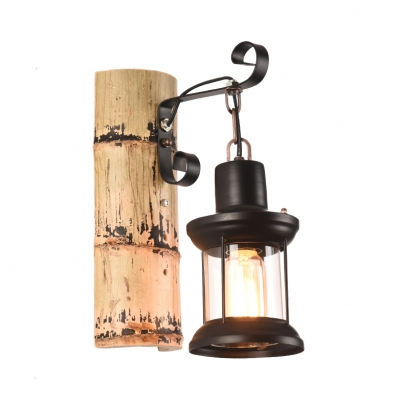 Black Lantern Wall Light with Bamboo Base Single Light Lodge Style Wall Sconce for Hallway