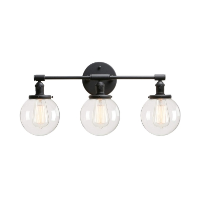 Black Orb LED Wall Light 3 Light Industrial Metal and Glass Sconce Light for Bathroom Kitchen