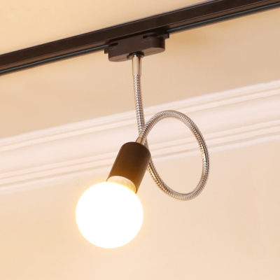 Black/White LED Track Light with Flexible Hose 1 Light Simple Style Ceiling Lamp for Bathroom
