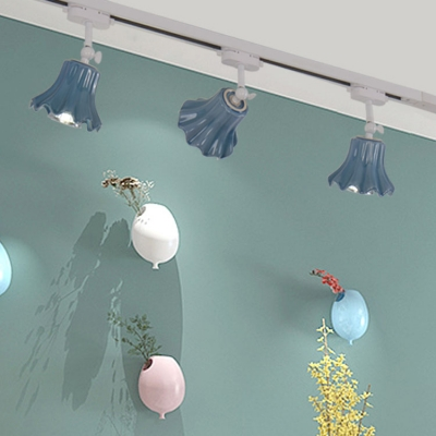 Blue/Green Lotus Leaf Track Light 3 Lights Modern Ceramic Rotatable LED Ceiling Lamp for Living Room