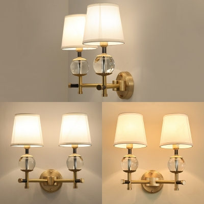 Classic White Tapered Shade Wall Light 1/2 Lights Fabric Metal Sconce Light in Brass for Study Room