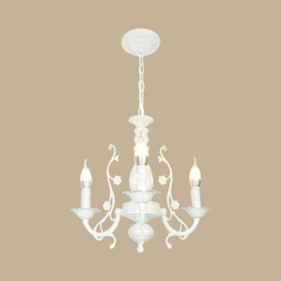 Colonial Style Black/White Chandelier with Candle 3/5/6 Lights Metal Hanging Light for Bedroom