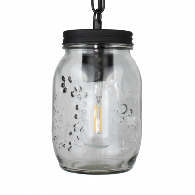 Dining Room Jar Shape Pendant Lighting Clear Glass Industrial Hanging Lighting for Foyer