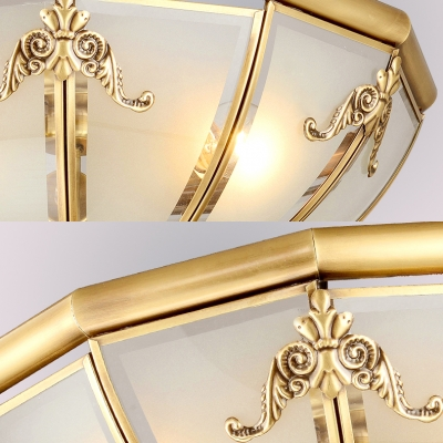Dome Living Room Flush Ceiling Light Frosted Glass 3/4/6 Lights Elegant LED Light Fixture in Brass