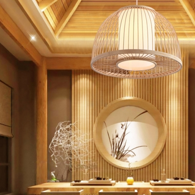 Domed Shape Restaurant Ceiling Fixture Single Light Antique Style Bamboo Ceiling Light Fixture