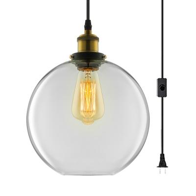 Glass Globe Plug In Ceiling Light 1 Light Antique Style Pendant Lighting for Restaurant Foyer