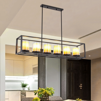Industrial Black Island Fixture with Rectangle Shade 3/5/6 Lights Metal and Clear Glass Pendant Light