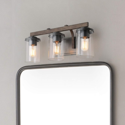 Industrial Sconce Wall Light with Cylinder Shade 3 Lights Clear Glass Wall Light for Bathroom Mirror