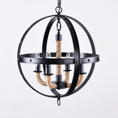 Kitchen Indoor Globe Shape Chandelier Light Metal and Rope 4 Lights Black Pendant Lighting