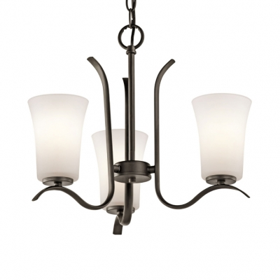 Living Room Foyer Tapered Chandelier Frosted Glass and Metal 3/5 Lights Traditional Black/Nickel Pendant Lighting
