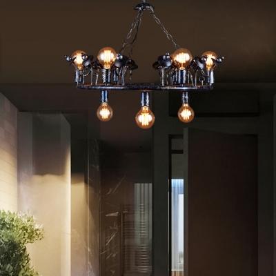 Living Room Round Chandelier 9 Lights Vintage Metal Ceiling Chandelier in Black