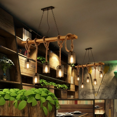 Metal and Wood Island Light 3/5 Lights Vintage Style Pendant Lighting for Restaurant Coffee Shop