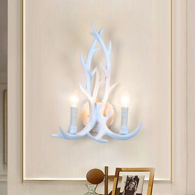 Metal Antlers Shape Wall Sconce 2 Lights Vintage Style Wall Light in White for Bedroom
