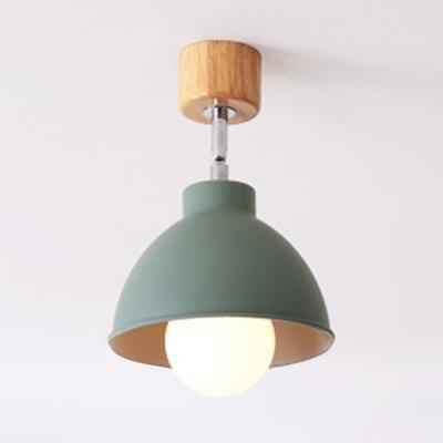 Metal Bowl Semi Flush Mount Single Light Industrial Semi Light Fixture for Dining Room