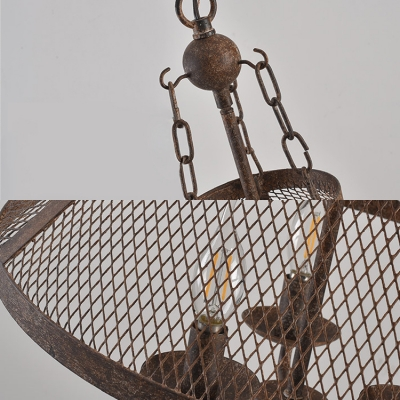Metal Candle Suspension Light with Cone Shade 3 Lights Vintage Style Chandelier in Rust for Bar