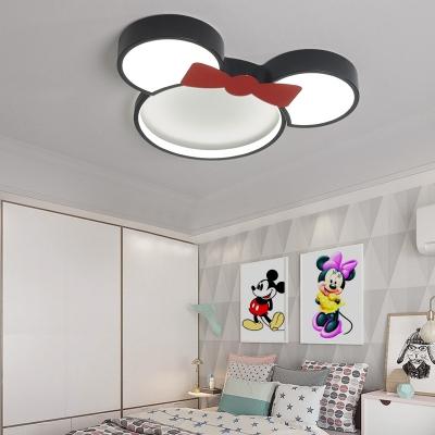 Mickey Mouse Ceiling Light White/Stepless Dimming Cute Acrylic Flush Mount Light for Kindergarten