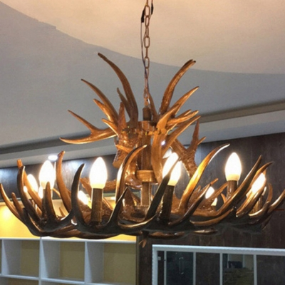 Rustic Style Deer Horn Chandelier 9 Lights Resin Hanging Light for Dining Room Living Room