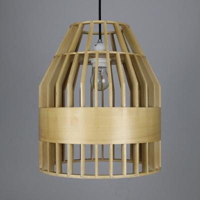 Single Light Birdcage Shape Pendant Light Vintage Style Bamboo Ceiling Light for Hallway