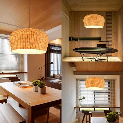 Single Light Dome Shape Ceiling Light Rustic Rattan Pendant Lighting in White for Dining Room