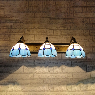 Stained Glass Dome Sconce Light Dining Room Bathroom 3 Lights Mediterranean Style Wall Sconce