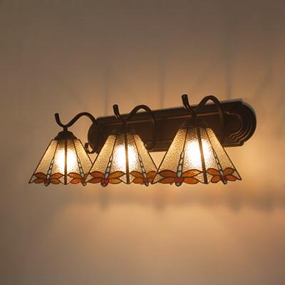 Vitraux Libellule Mur de Lumière 3 Lumières Style Tiffany Applique la Lumière pour la salle de Bain Couloir