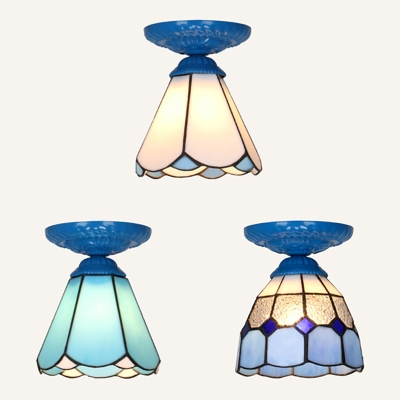 Tiffany Style Cone Ceiling Light 1 Light Dark Blue/White/Sky Blue Flush Mount Light for Kitchen