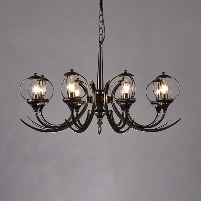 Vintage Candle Chandelier Light 8 Lights Metal Hanging Chandelier in Black for Foyer
