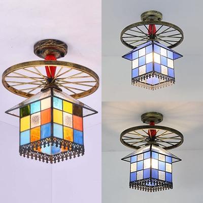 Vintage Style House Semi Flush Mount Light 1 Light Glass Ceiling Light with Wheel for Bedroom