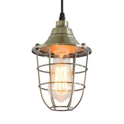 Vintage Wire Frame Hanging Lamp Metal Single Light Bronze/Chrome Pendant Light for Kitchen, HL516150