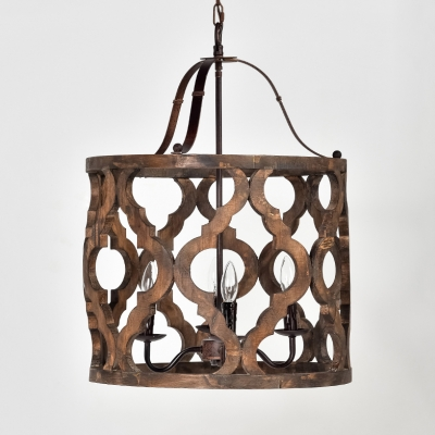 Wood Drum Shape Pendant Light 4 Lights Antique Style Chandelier with Metal Candle for Dining Room