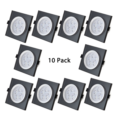 (10 Pack)3W Square Recessed Light Fixture Dining Room Hallway 2-3 Inch Blue/Black/White Ceiling Light Fixture in White/Warm