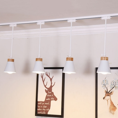 4 Lights Tapered Track Lighting Contemporary Metal Rotatable LED Spot Light in White for Store Gallery